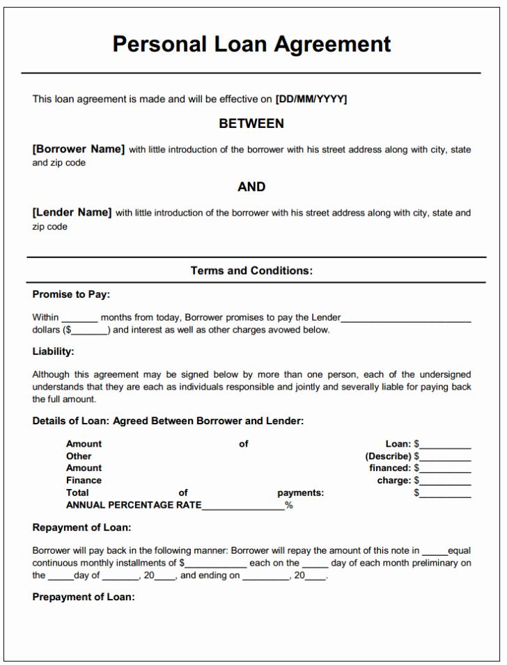 Free Personal Loan Agreement Template Microsoft Word