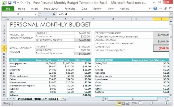 Free Personal Monthly Bud Template for Excel