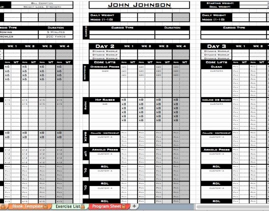 Free Personal Training Excel Templates Useful Ms Excel