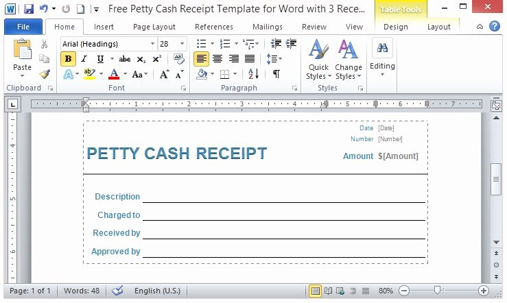 Free Petty Cash Receipt Template for Word with 3 Receipts