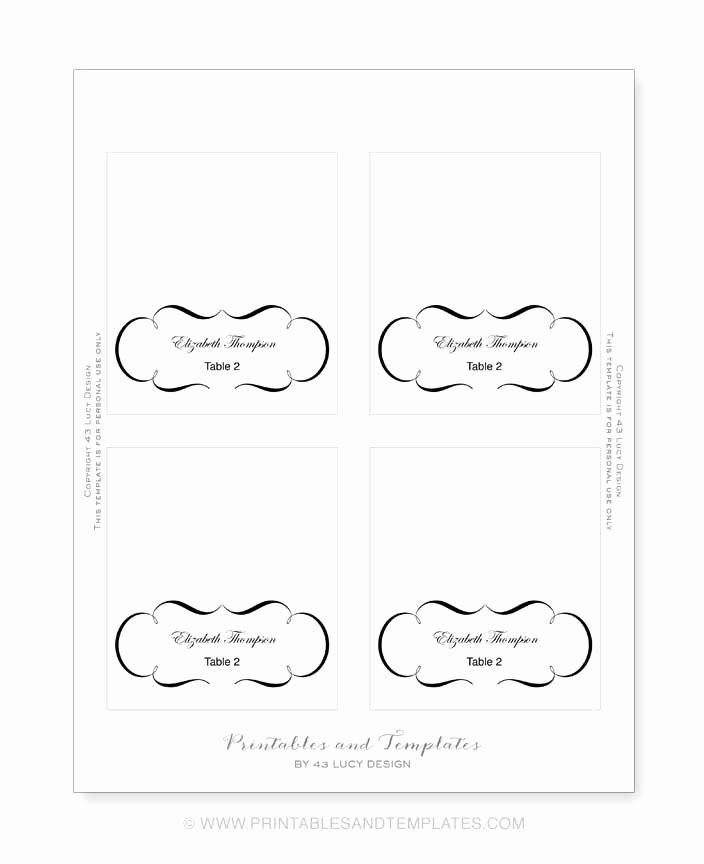 Free Place Card Template 6 Per Sheet Icebergcoworking