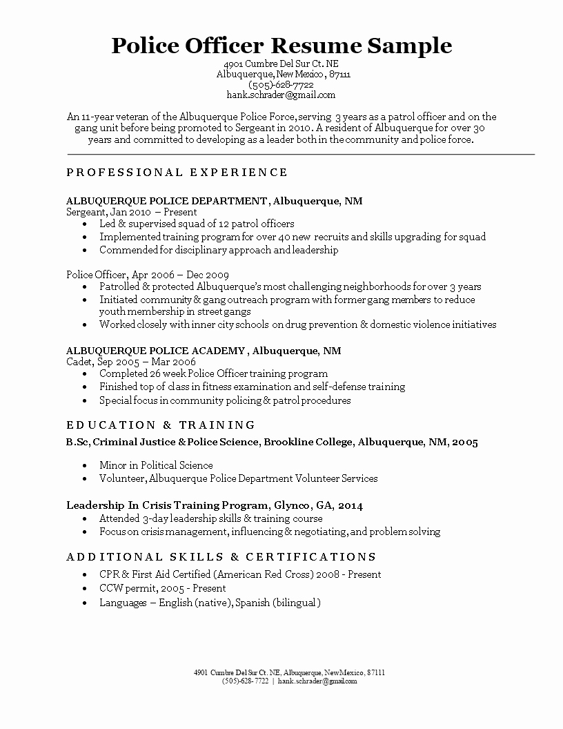 Free Police Ficer Resume Sample