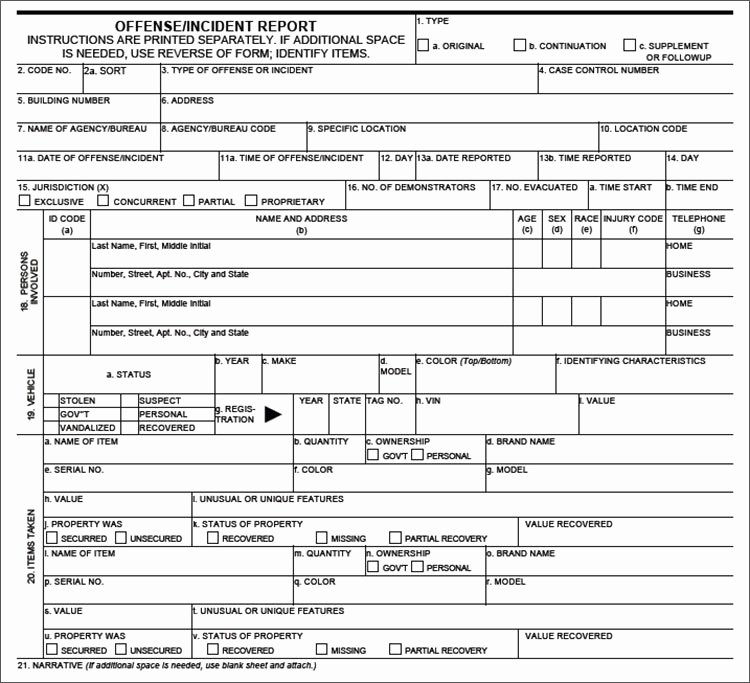 Free Police Report Templates Examples