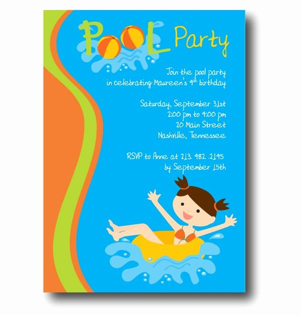 Free Pool Party Birthday Invitation Printable