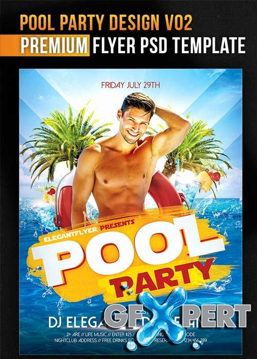 Free Pool Party Design V02 Flyer Psd Template