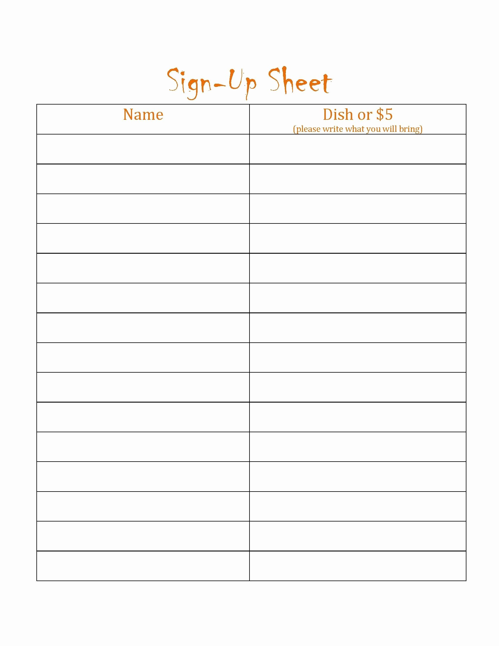 Free Potluck Sign Up Template Simple