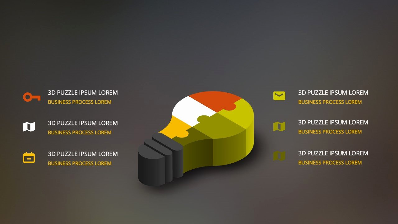 Free Powerpoint Template with 3d Light Bulb and Puzzle