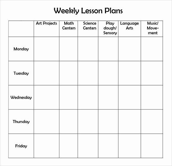 Free Preschool Lesson Plan Template Printable