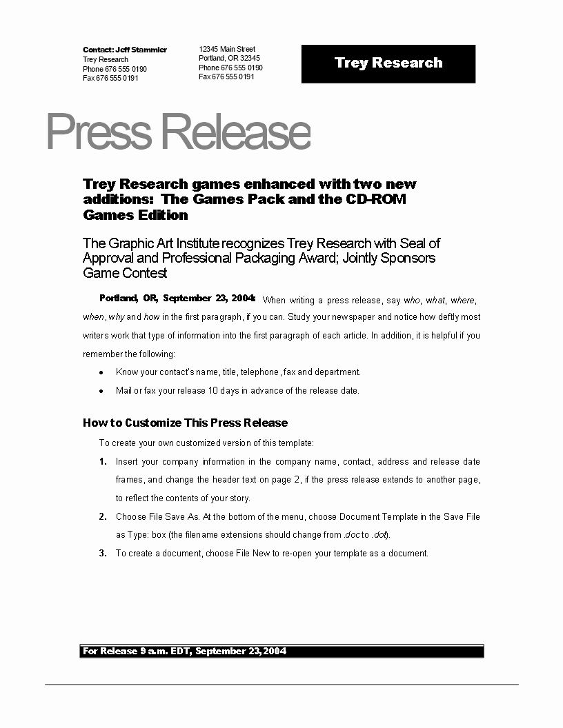 Free Press Release Example New Game