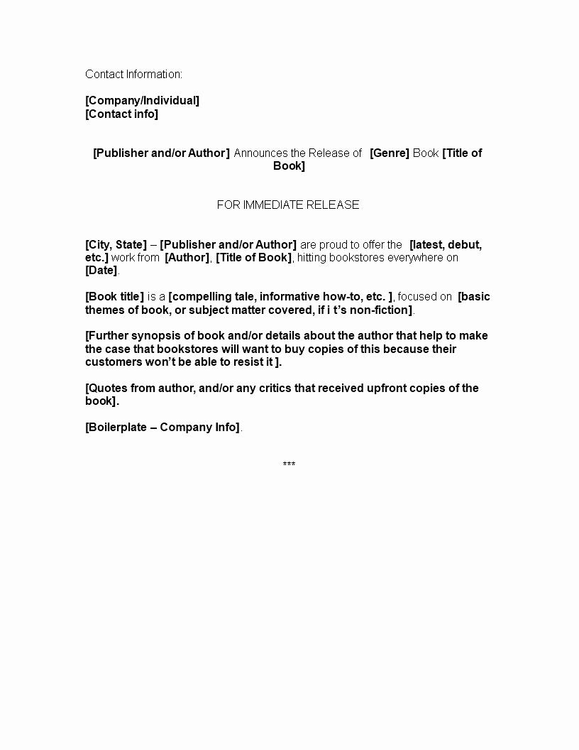 press release template book