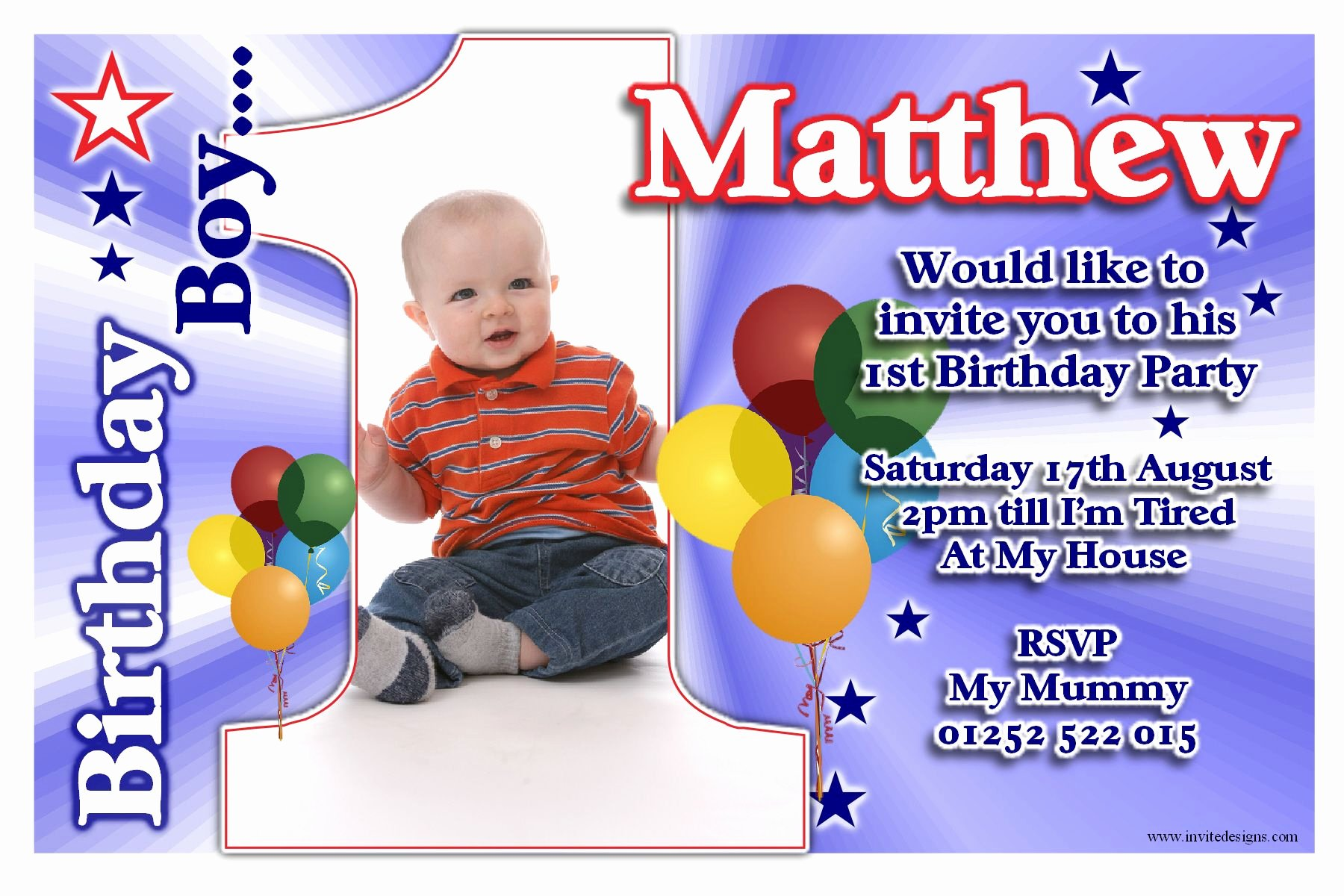 Free Printable 1st Birthday Party Invitations Boy Template