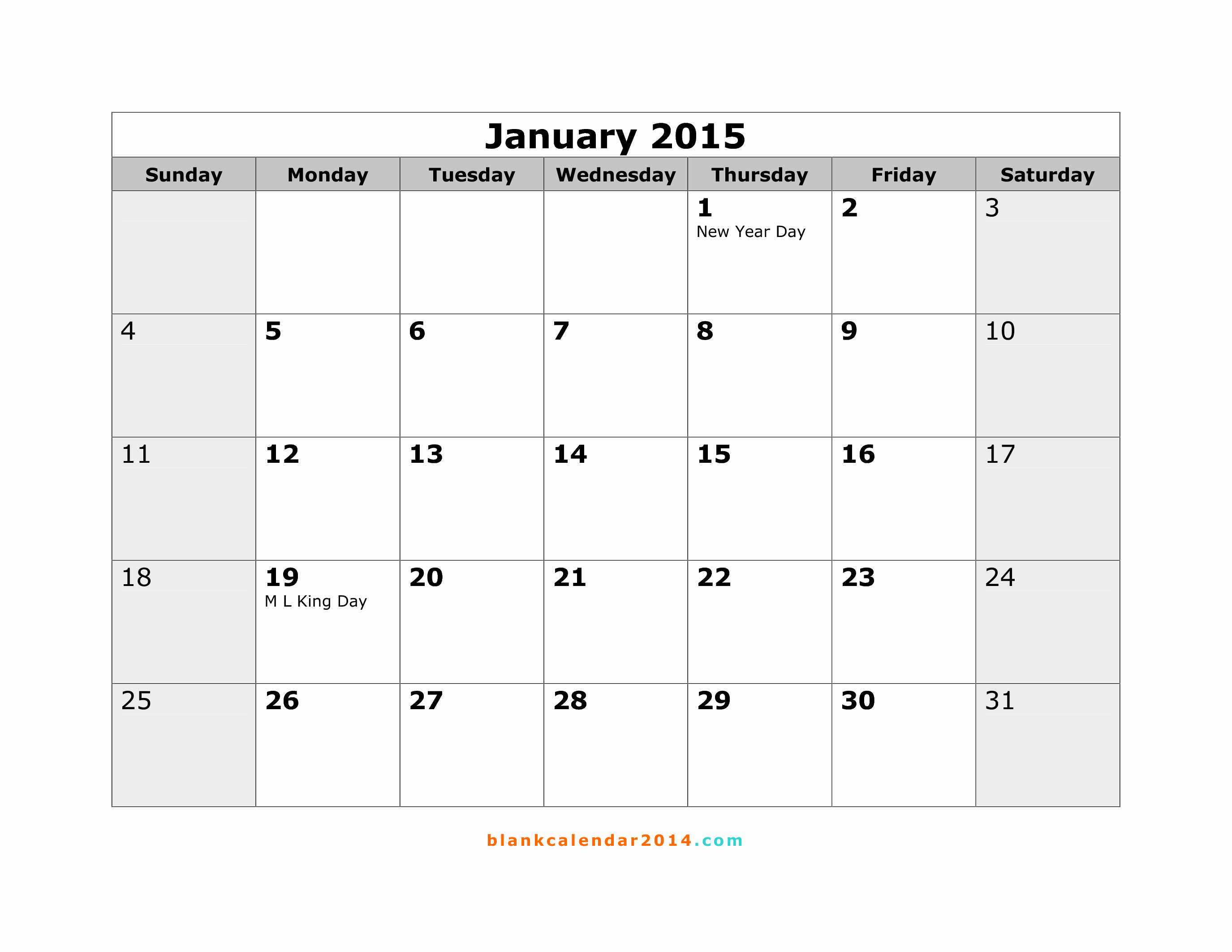 Free Printable 2015 Calendar by Month – 2017 Printable