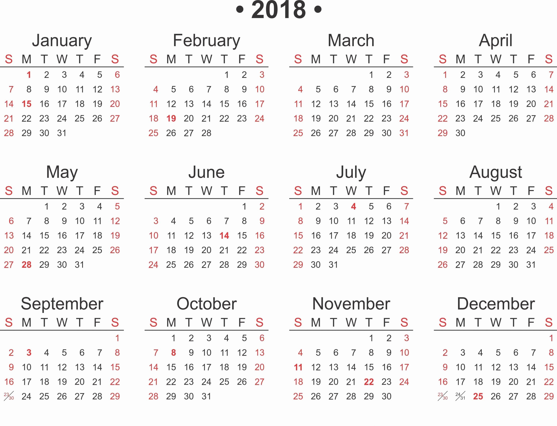 Free Printable 2018 Calendar Template Word Excel