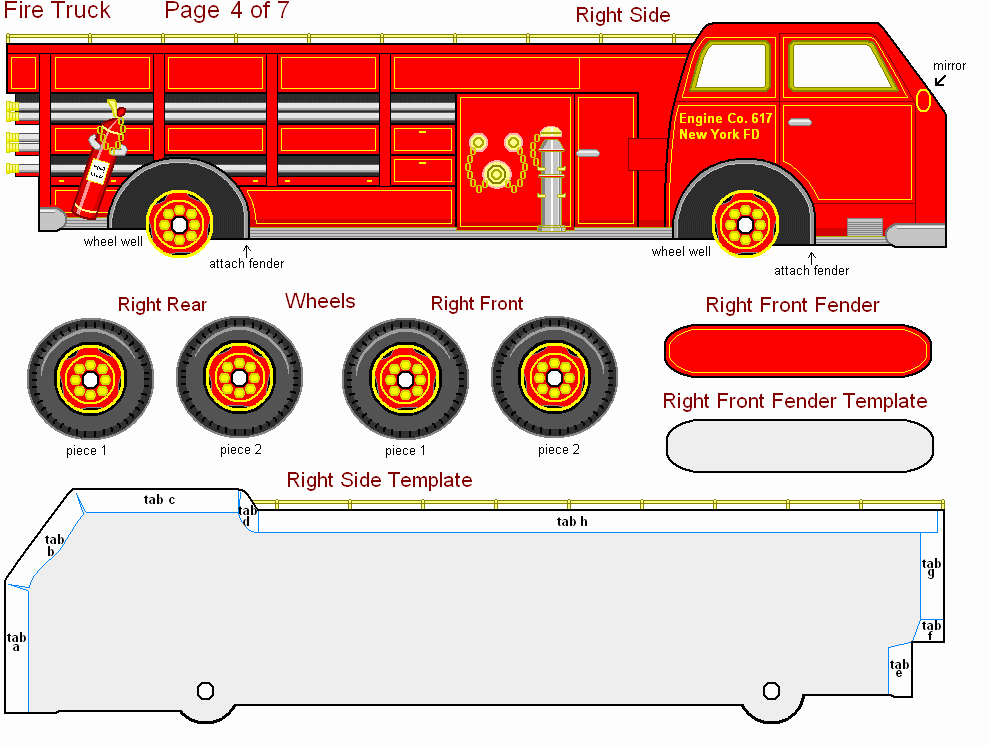 Free Printable 3 D Paper Fire Truck Great for Kids