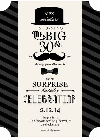 Free Printable 30th Birthday Invitations for Men Template