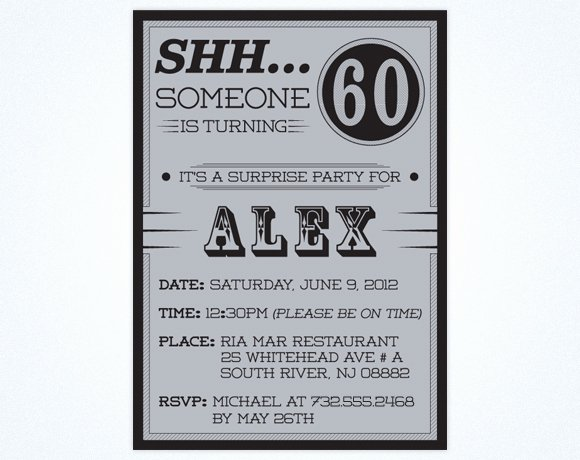 Free Printable 60th Birthday Surprise Party Invitations