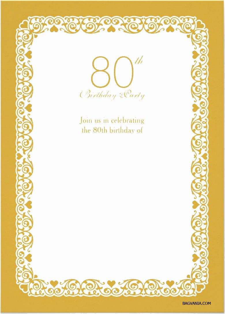 Free Printable 80th Birthday Invitations – Bagvania Free