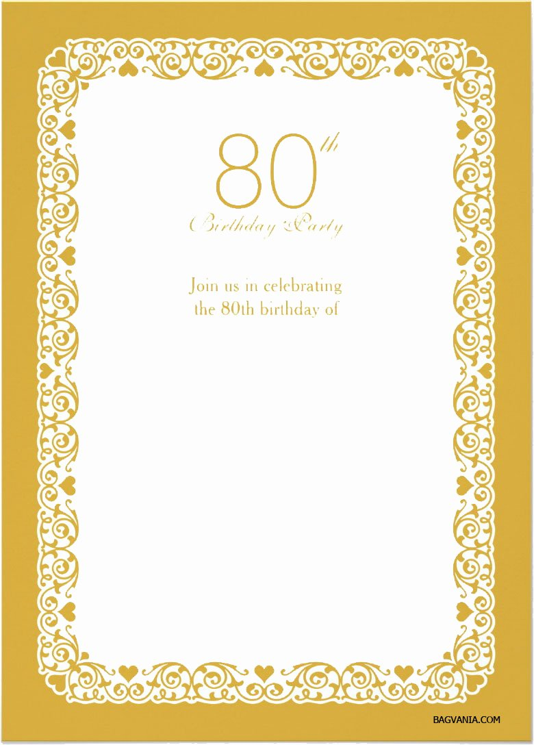 Free Printable 80th Birthday Invitations – Bagvania Free