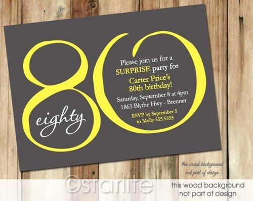 Templates Online Free Printable 80th Birthday Invitations