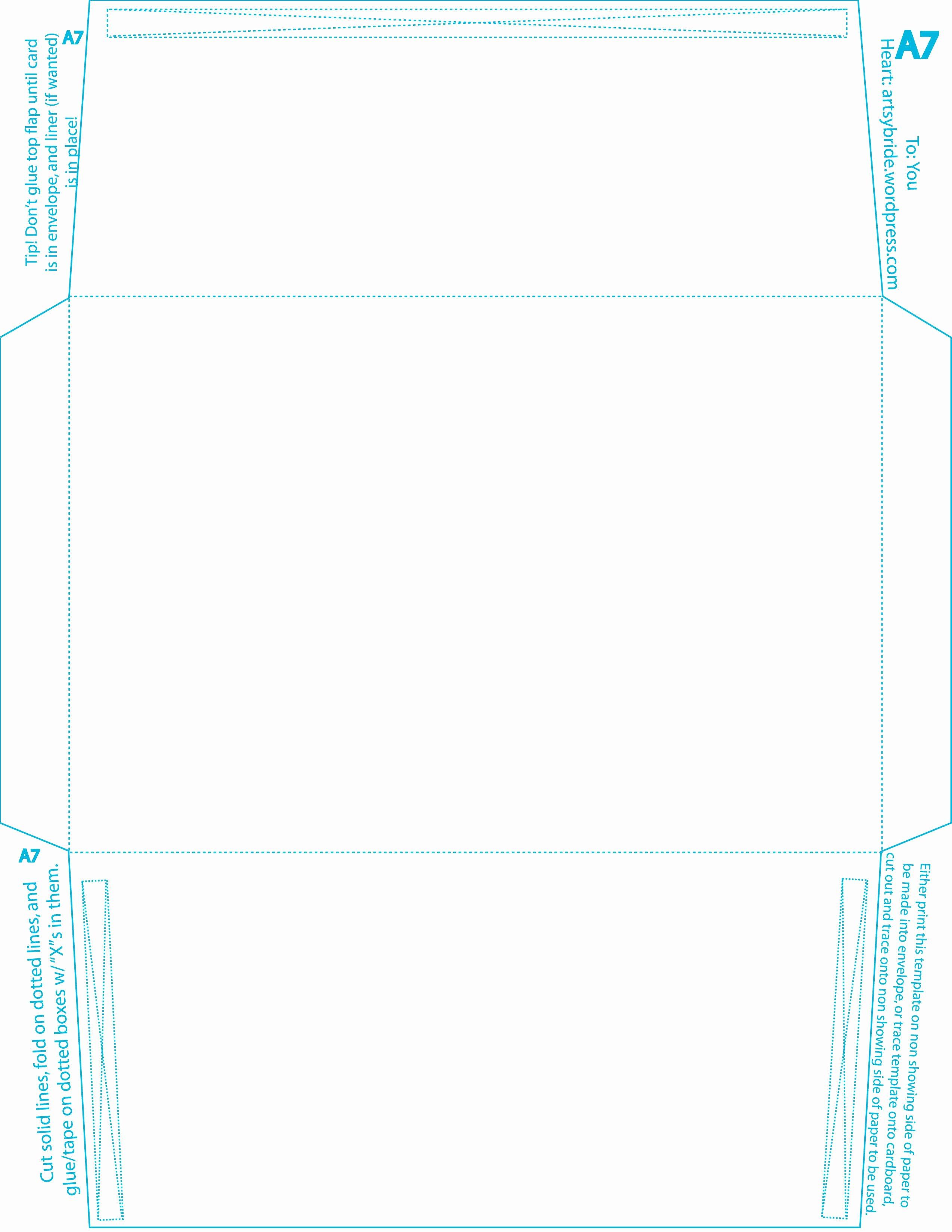 Free Printable A7 Envelope Liner Template