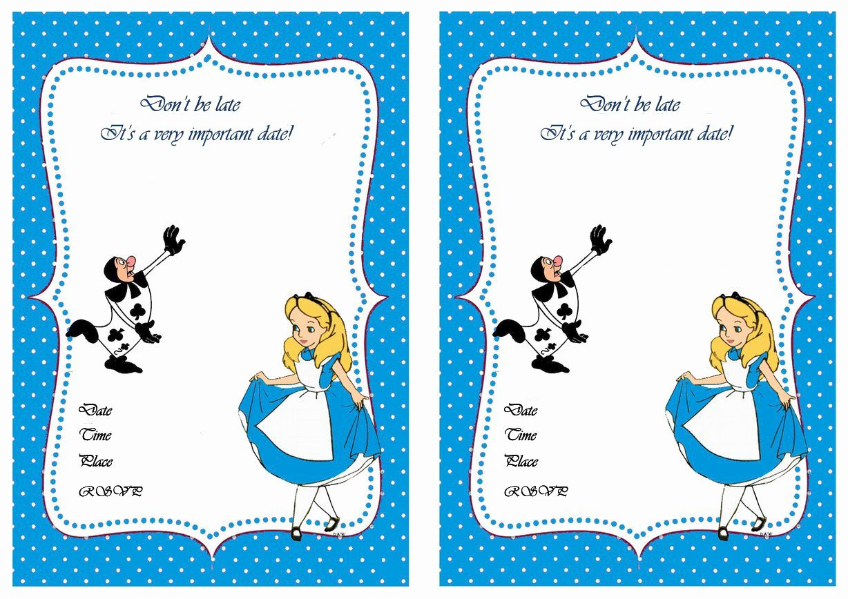 Free Printable Alice In Wonderland Birthday Invitations