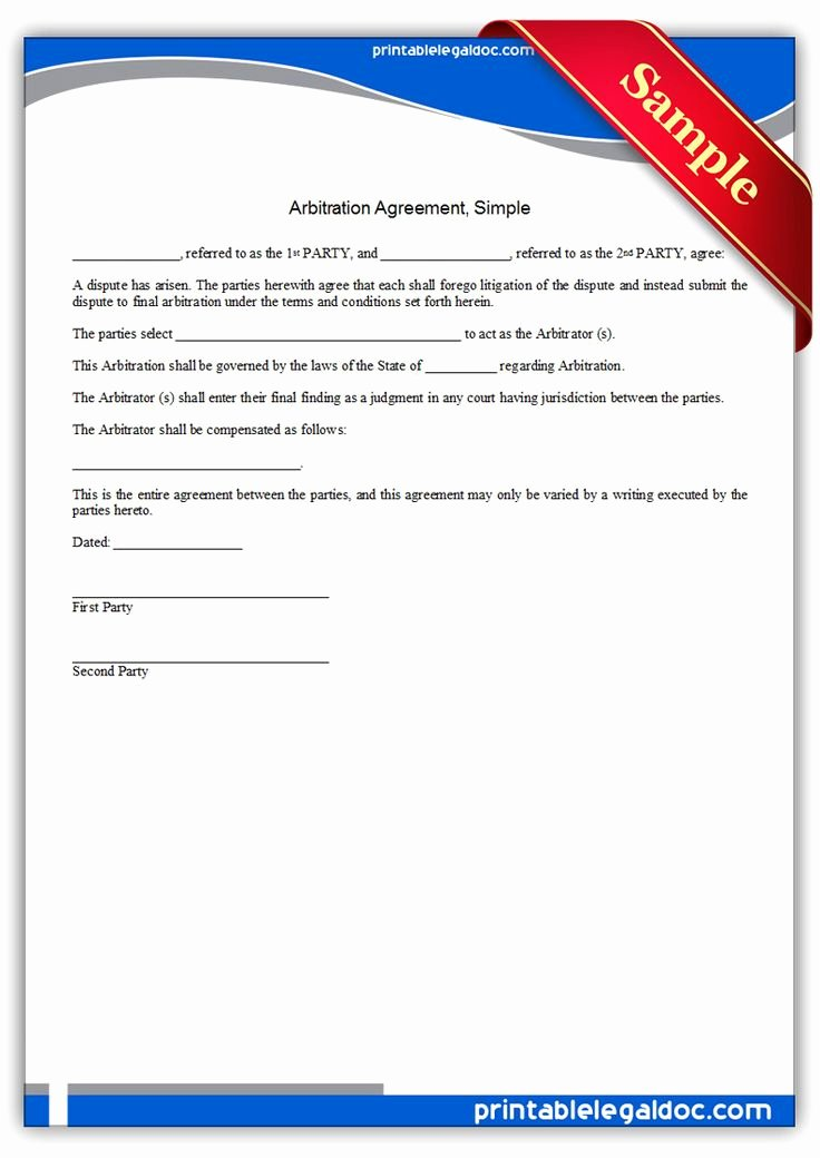 Free Printable Arbitration Agreement Simple Legal forms