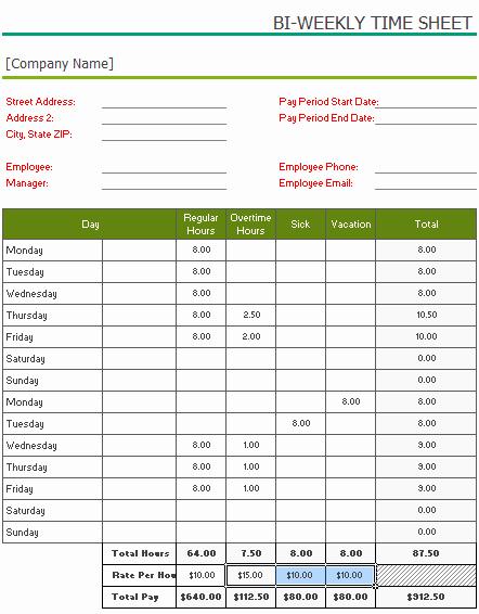 Free Printable Bi Weekly Timesheet Template for Excel