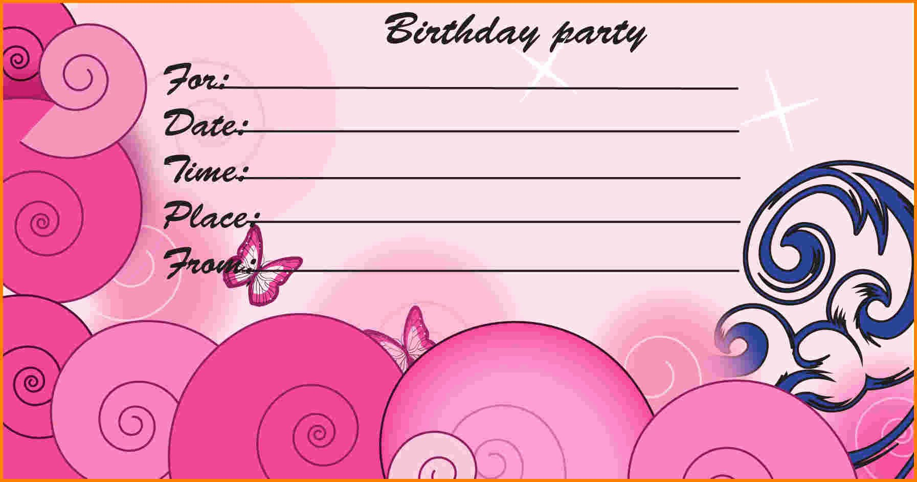 Free Printable Birthday Invitation Cards