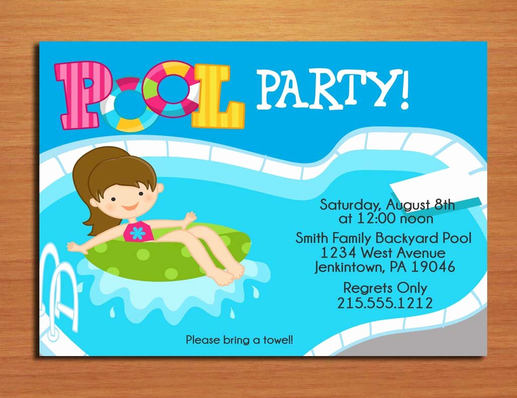 Free Printable Birthday Pool Party Invitations