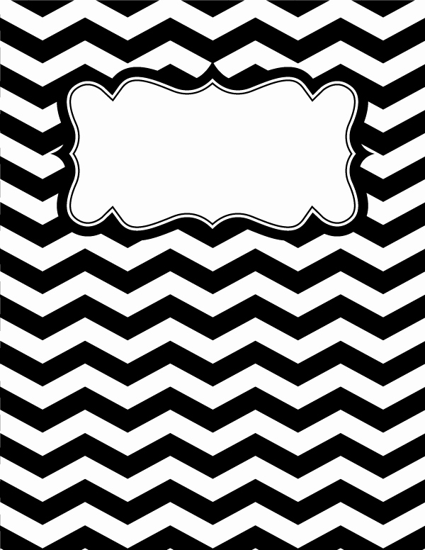 Free Printable Black and White Chevron Binder Cover
