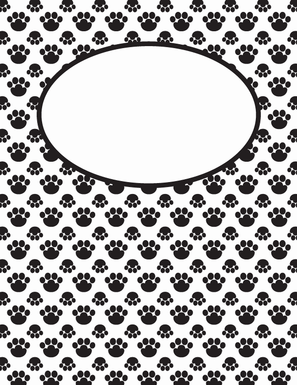 Free Printable Black and White Paw Print Binder Cover