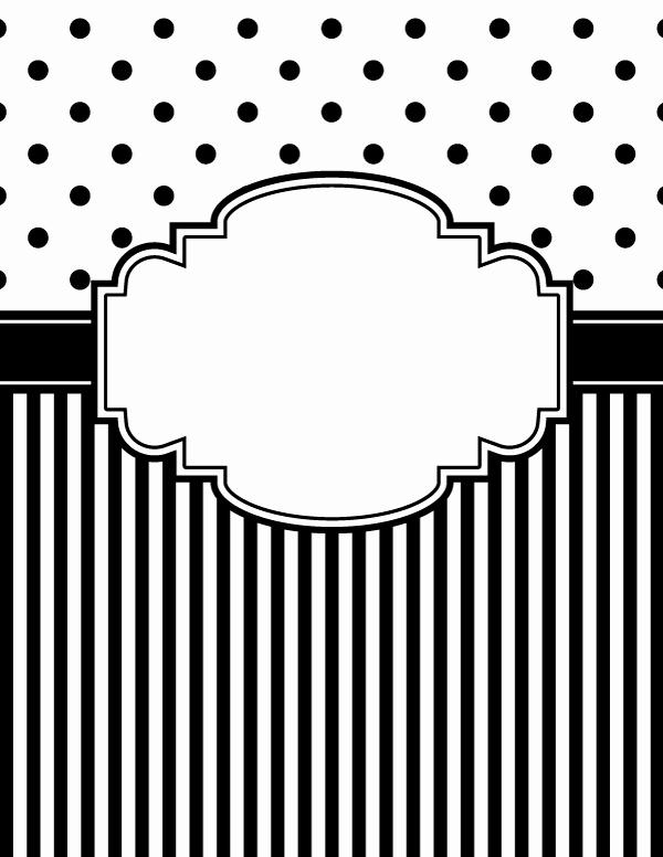 Free Printable Black and White Polka Dot and Stripe Binder