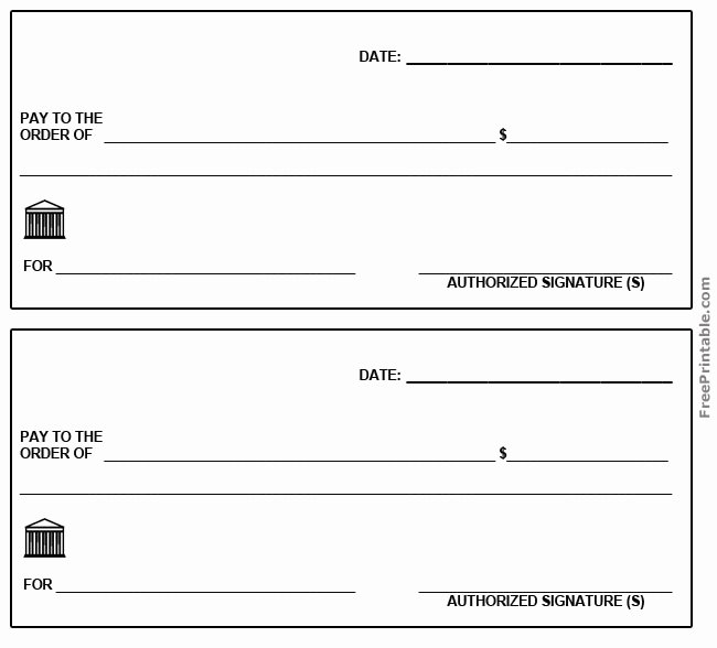Free Printable Blank Check Template