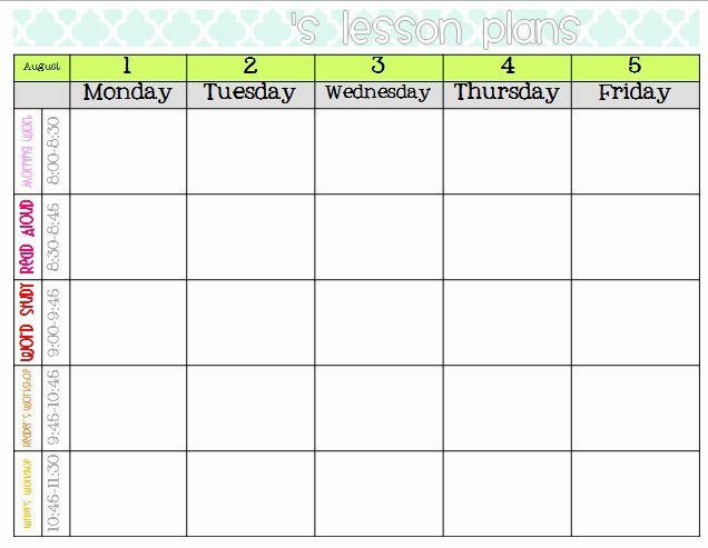 Free Printable Blank Lesson Plan Template