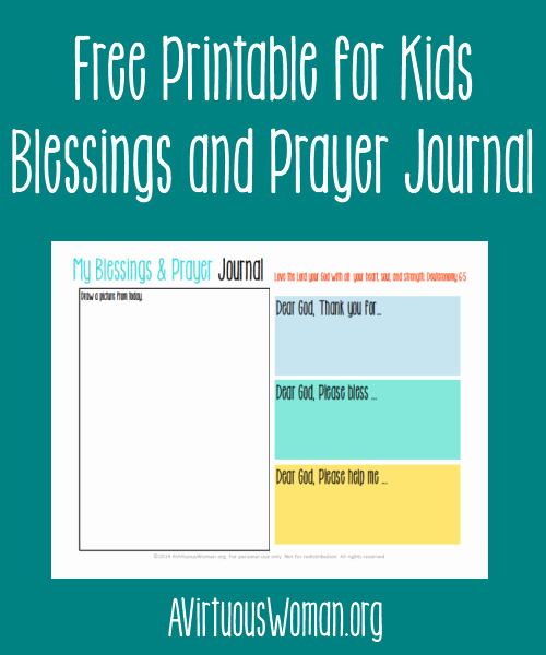 Free Printable Blessings and Prayer Journal for Kids A