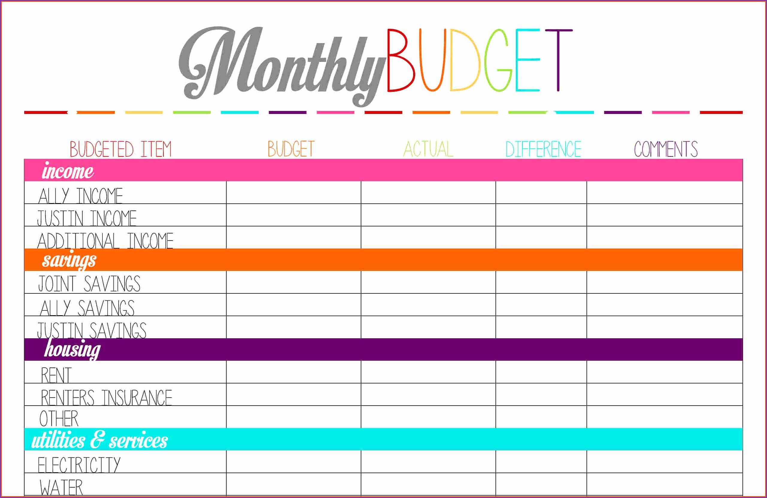 Free Printable Bud Sheet Monthly Pdf