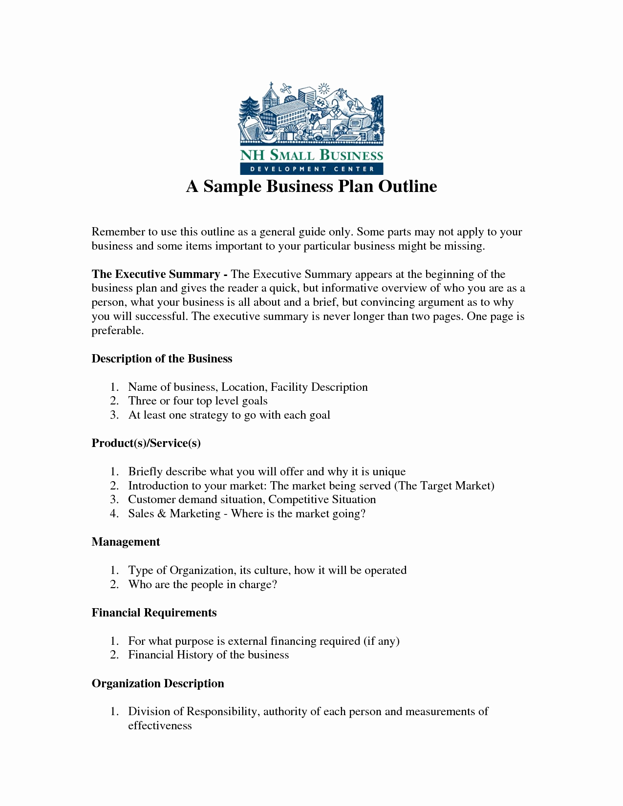 Free Printable Business Plan Sample form Generic
