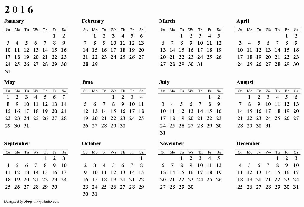 Free Printable Calendar 2016 Australia