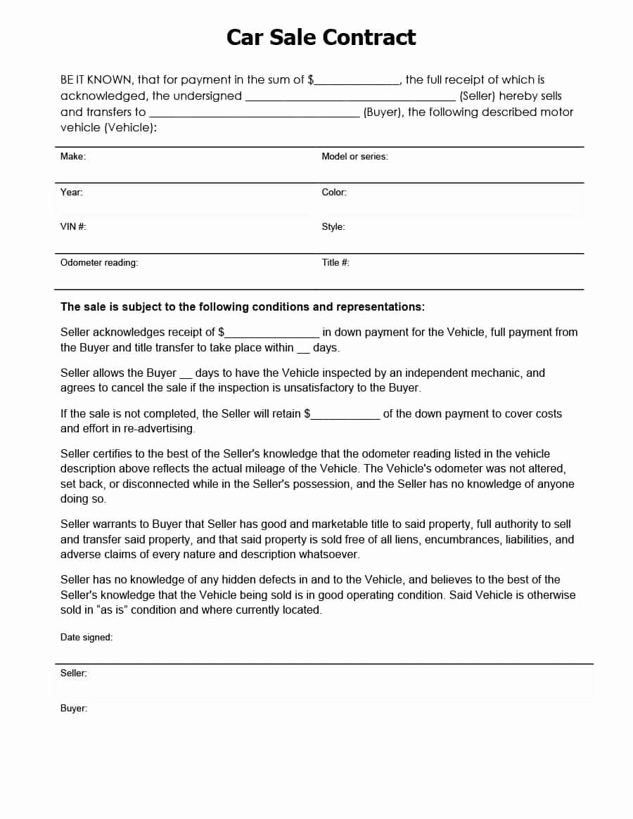 Free Printable Car Sale Contract with Payments Template