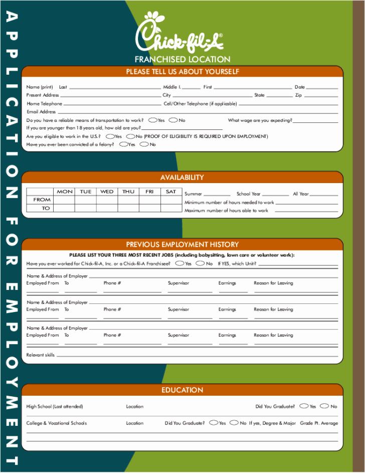 Free Printable Chick Fil A Job Application form