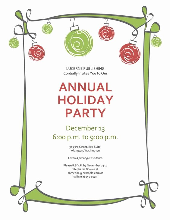Free Printable Christmas Invitations Template