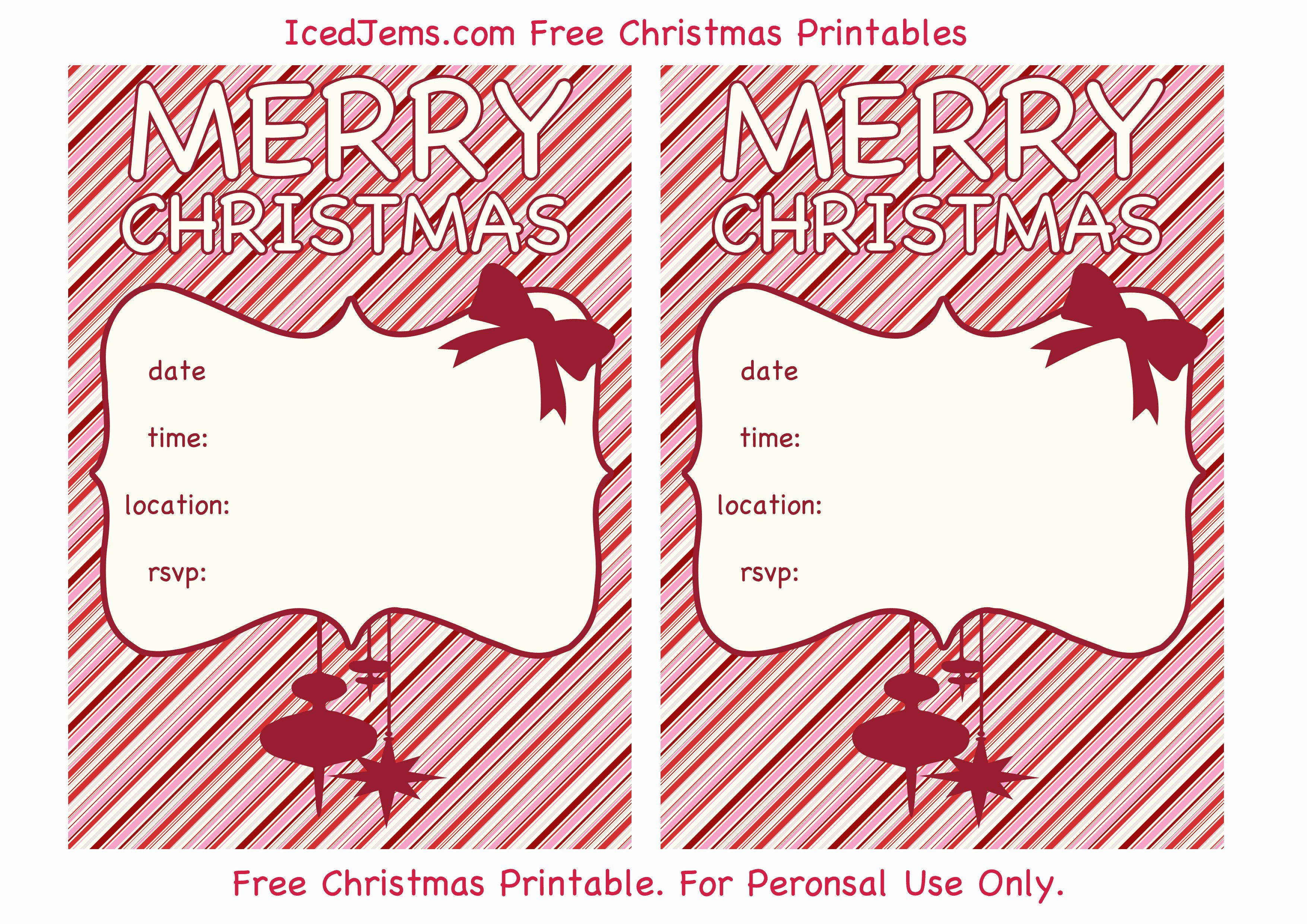 Free Printable Christmas Party Invites – Happy Holidays