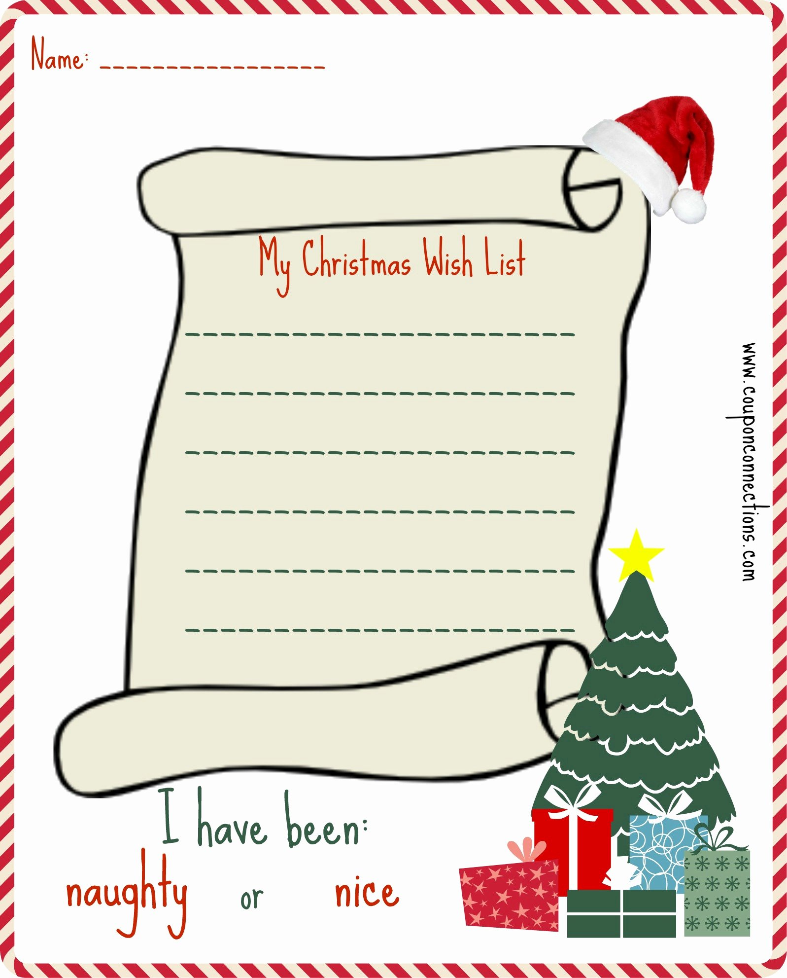 Free Printable Christmas Wish List Coupon Connections