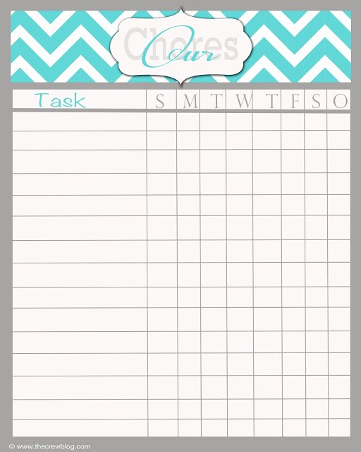 Free Printable Daily Chore Chart Template Household Chore