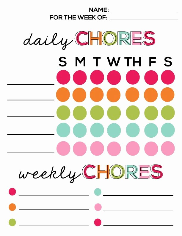 Free Printable Daily Chore Chart Template Printable 360