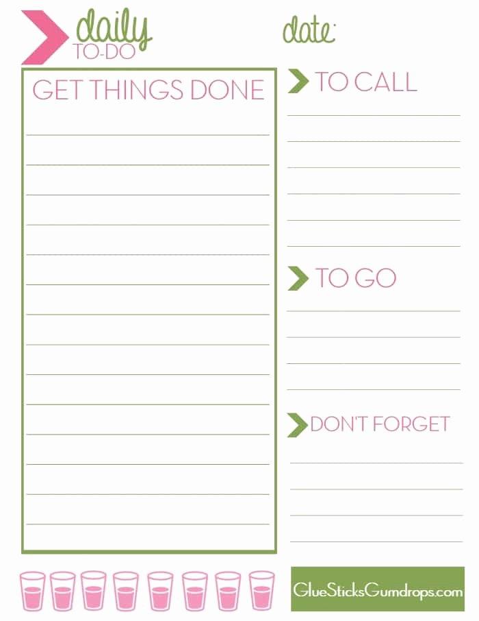 Free Printable Daily to Do List Glue Sticks and Gumdrops