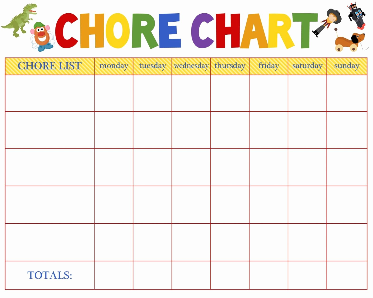 Free Printable Daily Weekly Monthly Chore Chart Template