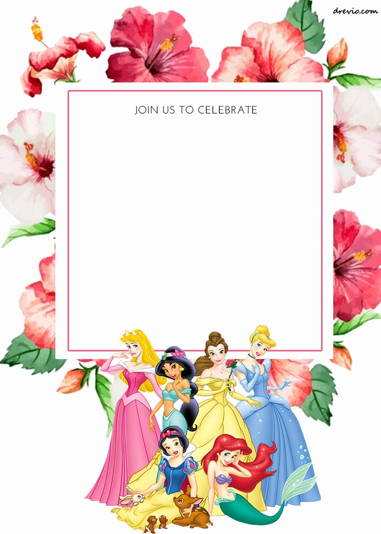 Free Printable Disney Princess Floral Invitation Template