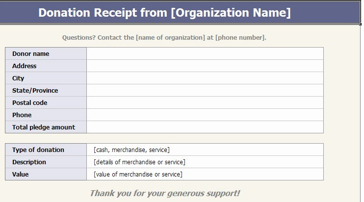 free printable donation receipt template church temple