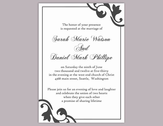 Free Printable Download Black and White Invitation